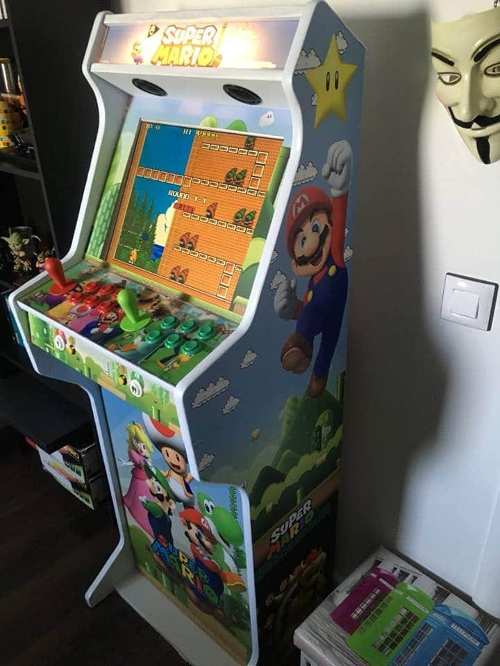 """181119 Bartop pedestal Super Mario - Bartop + pedestal 19"""" diseño personalizado Super Mario -"""