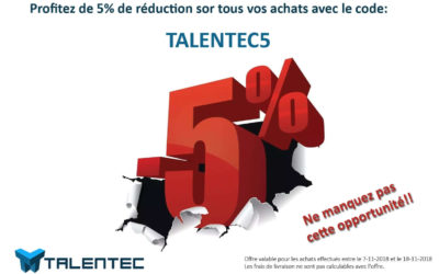 Coupon de réduction temporaire de 5%