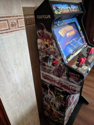 """Bartop Pedestal Ghosts and Goblins 2 375x500 - Bartop 24"""" and stand with door and two shelves with Ghosts and Goblins design -"""