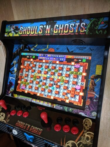 """Bartop Pedestal Ghosts and Goblins 3 375x500 - Bartop 24"""" and stand with door and two shelves with Ghosts and Goblins design -"""